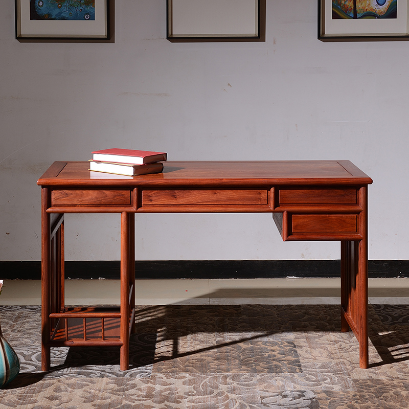 西安木雕厂_红木电脑桌台式桌缅甸花梨木写字台书桌办公桌圈椅组合明式 ...